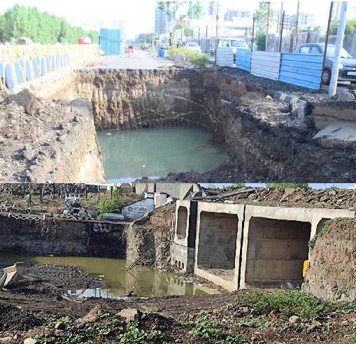 પાણી ભરાતા સ્વીમીંગ પુલ જેવો નજારો