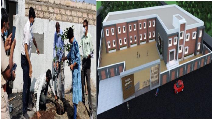 કોઠારિયા વિસ્તારમાં નવી બની રહેલી હાઈસ્કૂલની વિઝિટ કરતા મ્યુનિ. કમિશનર